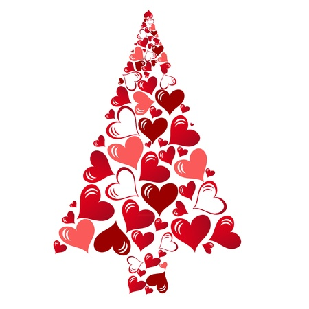 merry chrismas: abstract vector christmas tree with lovely hearts