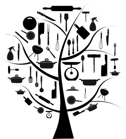 kitchen tools: Vector boom met verschillende keuken gereedschap voor het koken