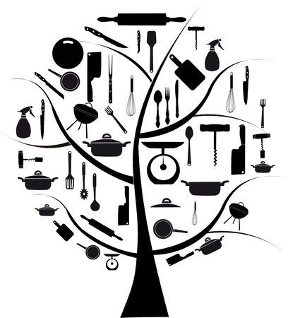 skimmer: Vector tree with different kitchen tools for cooking