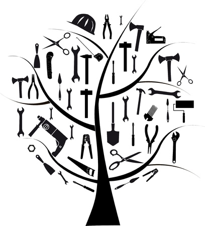 screw key: Vector tree with different tools for repair