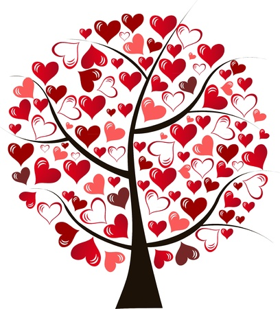 love tree: Illustration stylized love tree made of hearts - vector