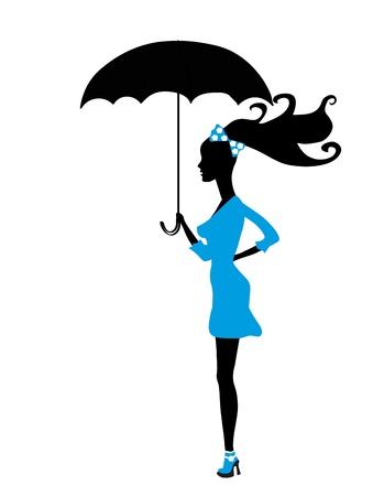 beautiful woman with umbrella Stock Vector - 10946585