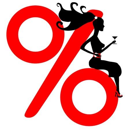 satisfied customer: shopping girl. seasonal sale. vector silhouette