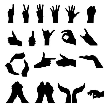 ensemble mains: signal de la main sur le blanc. illustration vectorielle