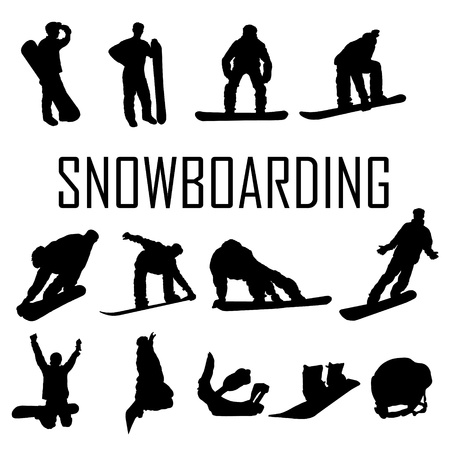 snowboarder jumping: Snowboarder man vector silhouette Illustration