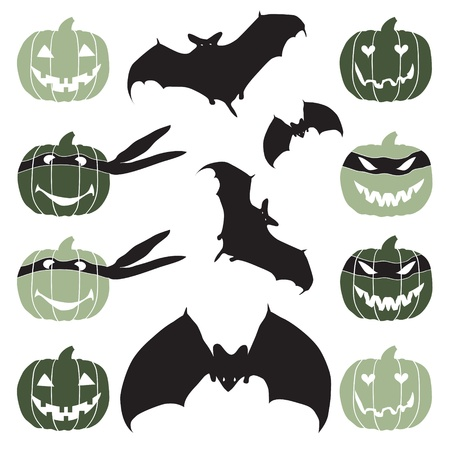 Halloween pumpkin head and bat Vector