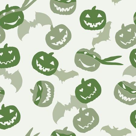 merrily: Halloween pumpkin head and bat Illustration