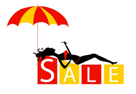 big sale concept with a beautiful girl in vector Stock Vector - 10946595