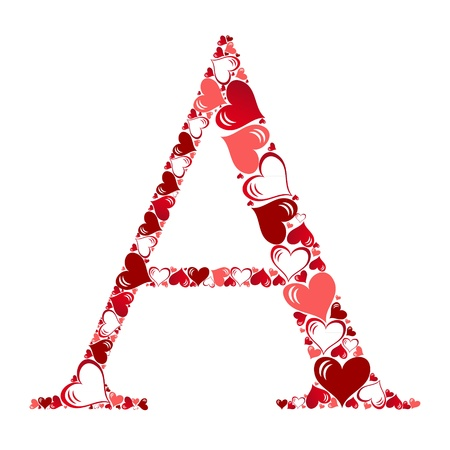 amour: Alphabet of hearts vector illustration Illustration