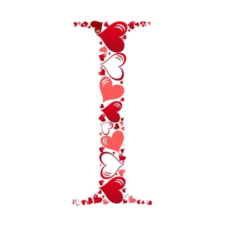 beautiful alphabet: Alphabet of hearts vector illustration Illustration