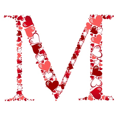 lovely: Alphabet of hearts vector illustration Illustration