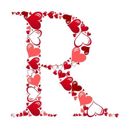 Alfabet van harten vector illustratie