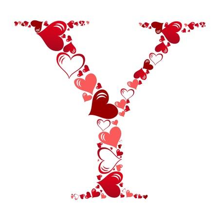 flower alphabet: Alphabet of hearts vector illustration Illustration