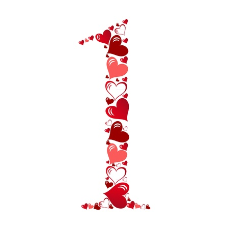 Number of hearts vector illustration Stock Vector - 11083650