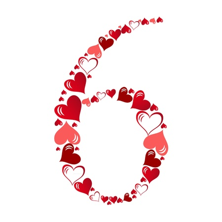 Number of hearts vector illustration Vector
