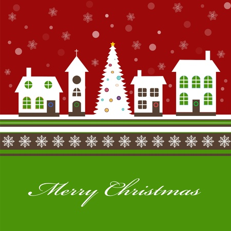 little town: Christmas card with a beautiful little snow-covered winter town