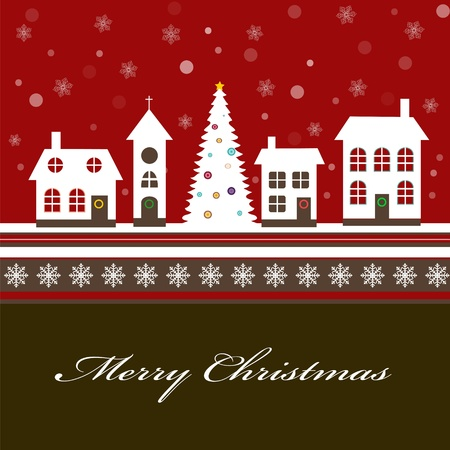 Christmas card with a beautiful little snow-covered winter town Vector