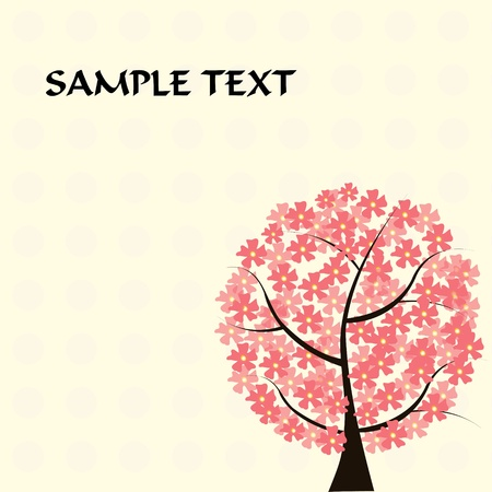 beautiful floral tree card Stock Vector - 11139165
