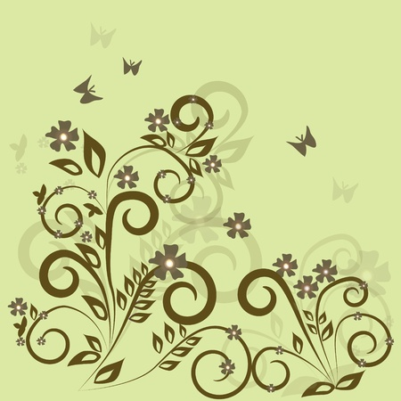 Stylish floral green background Stock Vector - 11139167