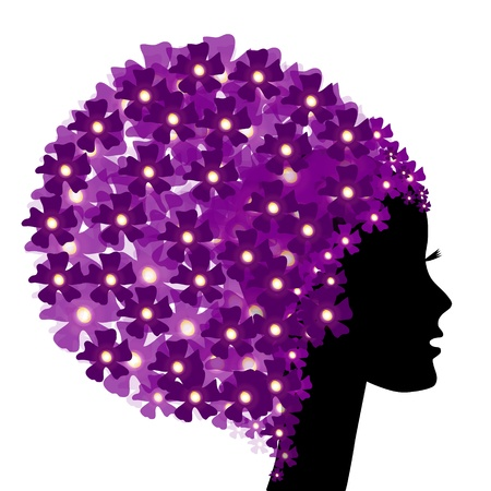Floral girl silhouette with flowers Stock Vector - 11139169