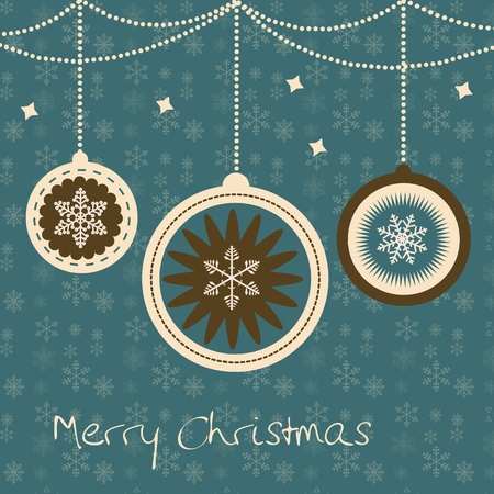 Christmas card with balls and snowflakes. vector illustration Vector