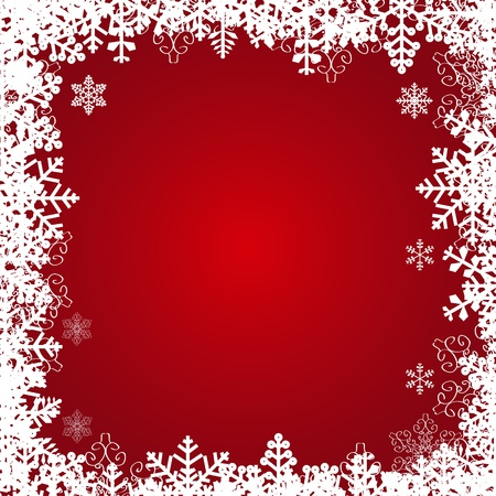 Beautiful snowflakes frame. Vector festive background. photo