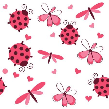 Patrón romántica perfecta con las libélulas, mariquitas, corazones y flores sobre un fondo blanco