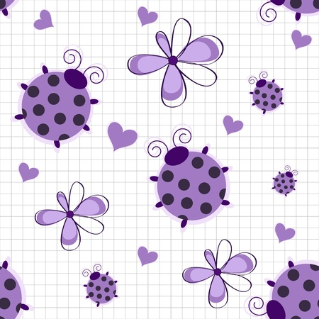 Romantic seamless pattern with ladybugs, hearts and flowers on a white background