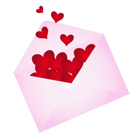wishes romantic: Envelope with hearts popping out