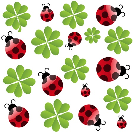 vector clover leaf with ladybird  seamless pattern Vector