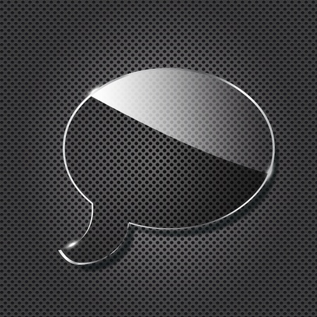 Glass chat symbol on black metallic background. Vector illustration. Vector