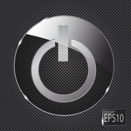 run off: Glass power button icon on metal background. Vector illustration