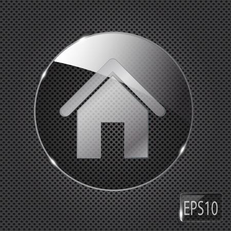 icono inicio: Casa de cristal bot�n con el icono en el fondo de metal. Ilustraci�n vectorial