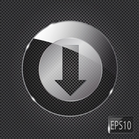 torrent: Glass download button icon on metal background. Vector illustration Illustration