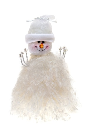 Snowmen boy isolated on the white photo