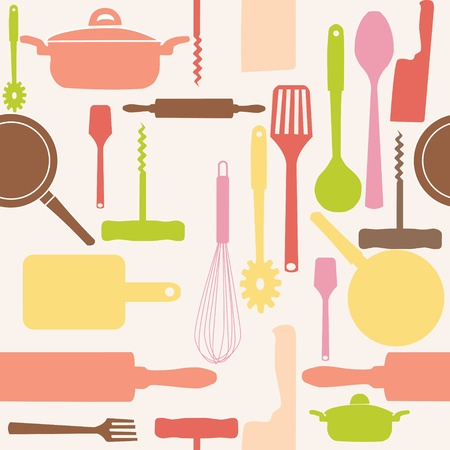 Vector seamless pattern of kitchen tools. Vector