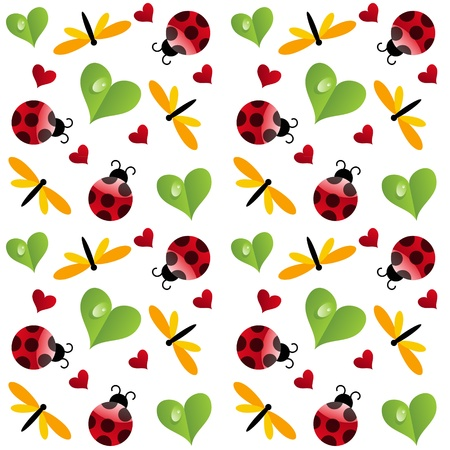vector clover leaf with ladybird seamless pattern Stock Vector - 11368330