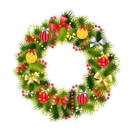 realistic christmas wreath Vector