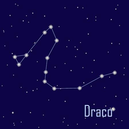 """constelaciones: La constelaci�n de """"Draco"""" estrella en el cielo nocturno. Ilustraci�n vectorial"""