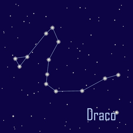 The constellation Draco star in the night sky. Vector illustration Vector