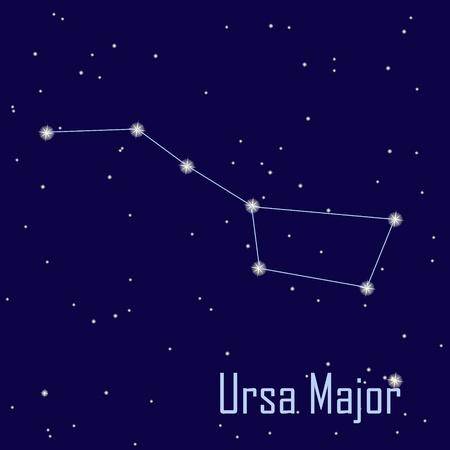 """milkyway: Het sterrenbeeld """"Grote Beer"""" ster aan de nachtelijke hemel. Vector illustratie"""