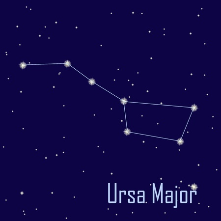 major: The constellation  Ursa Major  star in the night sky. Vector illustration Illustration