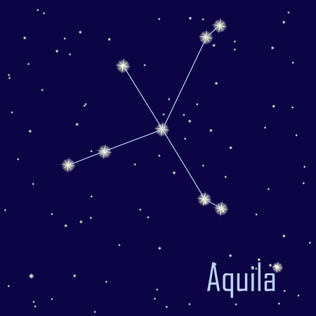 The constellation Aquila star in the night sky. Vector illustration Vector