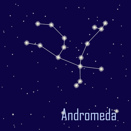 astrophotography: The constellation  Andromeda star in the night sky. Vector illustration