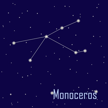 The constellation  Monoceros star in the night sky. Vector illustration Vector