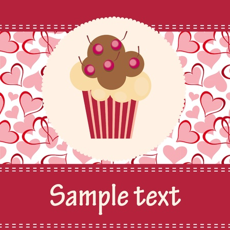 christmas cake: Card with a cupcake. vector illustration