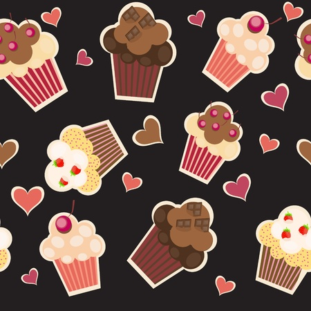 seamless cake pattern. Vector illustration Vector