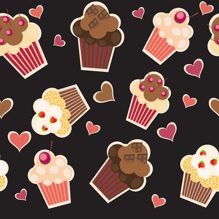 adorable: seamless cake pattern. Vector illustration