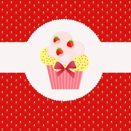 Strawberry cake on strawberry background. Vector illustration. Stock Vector - 11368251