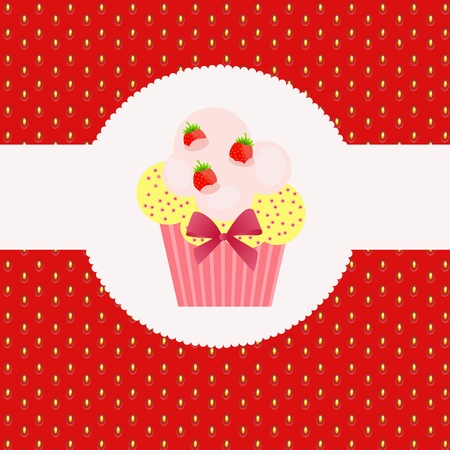 Strawberry cake on strawberry background. Vector illustration. Vector